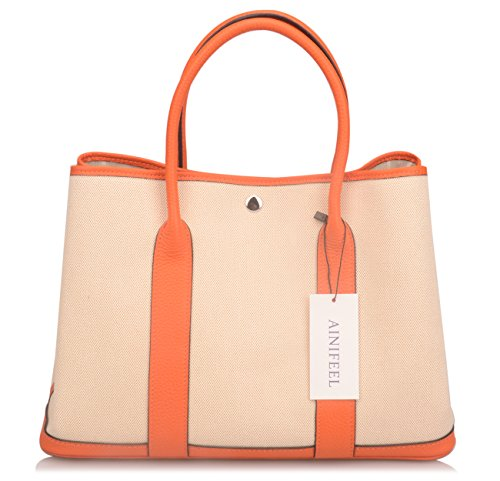 Ainifeel Women's Genuine Leather Top Handle Handbag Shopping Bag Tote Bag (Orange(leather+canvas)) by Ainifeel (Image #2)