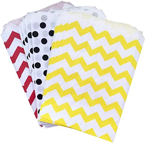 Outside the Box Papers Mickey Mouse Themed Paper Treat Sacks - Red Black Yellow White - Chevron Polka Dot Favor Bags - 5.5 x 7.5 Inches - 48 -