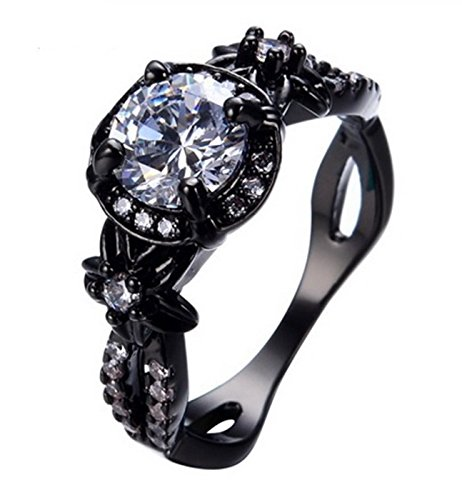 Fortonatori White Stone Ring Black Gold Filled Plated Flower Engagement Promise Vintage CZ (10)