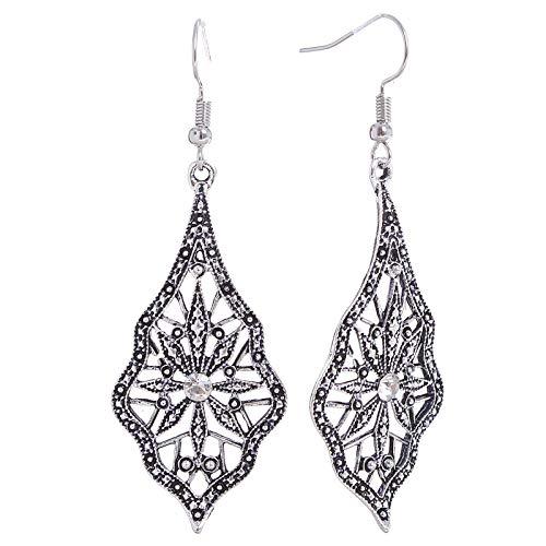 Teardrop Dangles Openwork Crystal Charms French Hook Pierced Ear Drop Earrings (White)