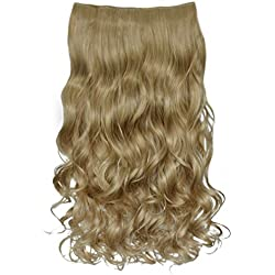 "REECHO 20"" 1-pack 3/4 Full Head Curly Wave Clips in on Synthetic Hair Extensions Hair pieces for Women 5 Clips 4.6 Oz Per Piece - Light Ash Blonde"