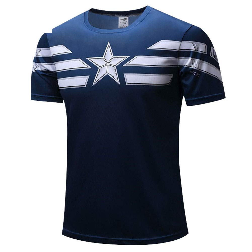 Men's Slim Dri Fit Athletic Tee Superhero Captain America Workout Shirts XL