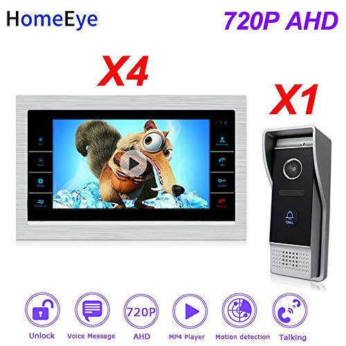 System Multi 720p Lcd - HomeEye 720P AHD Video Door Phone 1 to 4 Home Access Control System Video Intercom Motion Detection Voice Message Multi-Language OSD Menu 7'' LCD Screen (P203B1M701S4-AHD)