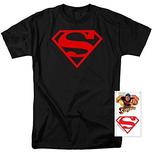 Exclusive Black T-shirt (DC Comics Superboy Logo T Shirt and Exclusive Stickers (Medium))