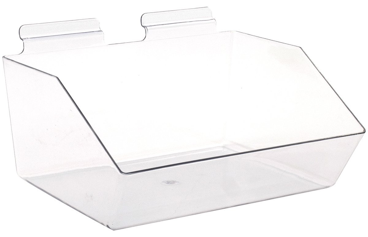 KC Store Fixtures A02107 Slatwall Acrylic Dump Bin, 12'' W x 9-1/2'' D x 5-1/2'' H, Clear (Pack of 5)