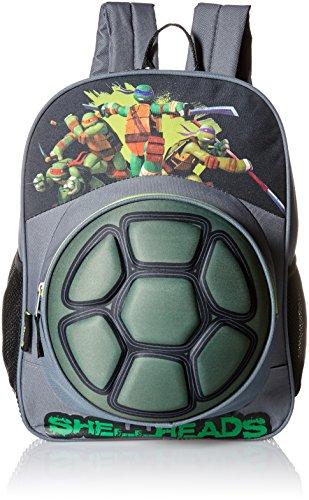 Teenage Mutant Ninja Turtles Big Boys Nickelodeon 3D Eva Turtle Shell Front Pocket 16 Inch Backpack, Grey, One -