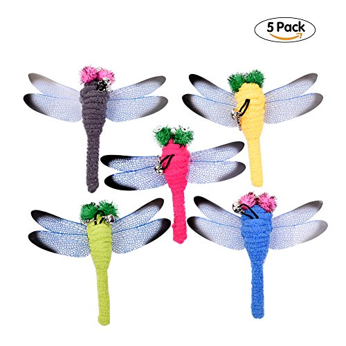 Yunt Cat Kitten Toys with Bell Interactive Funny Toys 5pcs Dragonfly Replacement Head for Cat Teasers