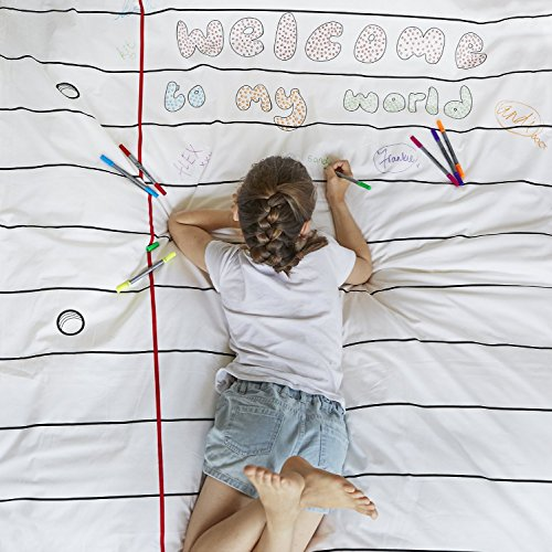 Doodle Duvet Cover (Doodle Duvet, Color Your Own Duvet, Coloring Duvet with Washable Fabric Markers)