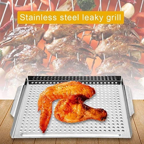PUNGDUNK Grill en Acier Inoxydable Topper Pan Robustes Légumes BBQ Grill Panier Extérieur Barbecue Cuisson À La Vapeur