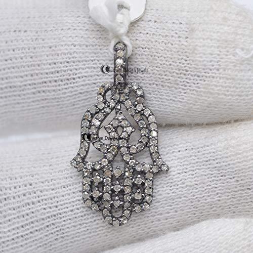 Pave Diamond Pendant, 925 silver Pave Diamond, Pave Diamond Humsa Pendant - Pave Diamond Hamsa Pendant, Humsa Pendant Diamond Humsa Pendant