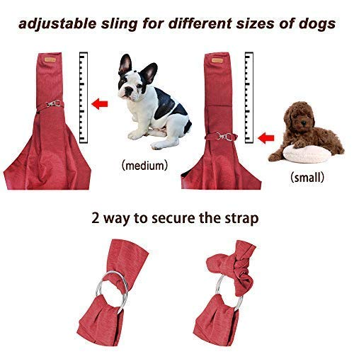 Wokow Dog Sling Pet Carries, Hands-Free Waterproof Lightweight Shoulder Carrier Bag with Dog Leash/Pocket and Adjustable Lengthened Strap for Small Medium Cat/Puppy/Rabbit up to 16lb Outdoor Travel
