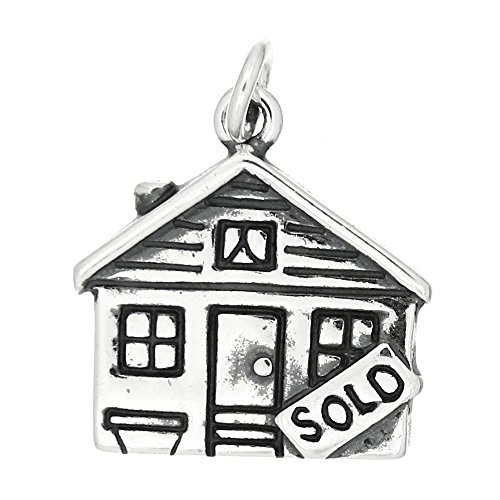 Sterling Silver Oxidized Realtor House Sold Charm or Pendant (Sterling Charm Silver House)