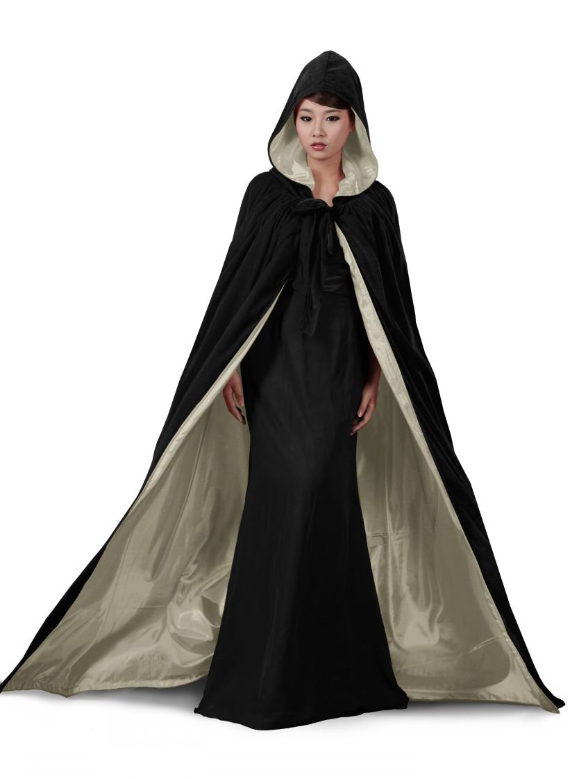 ANGELWARDROBE Halloween Hood Cloak Wedding Cape Black-Gold-2XL