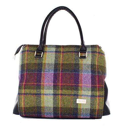 Ladies luxury Plaid Handbag – Green and Purple