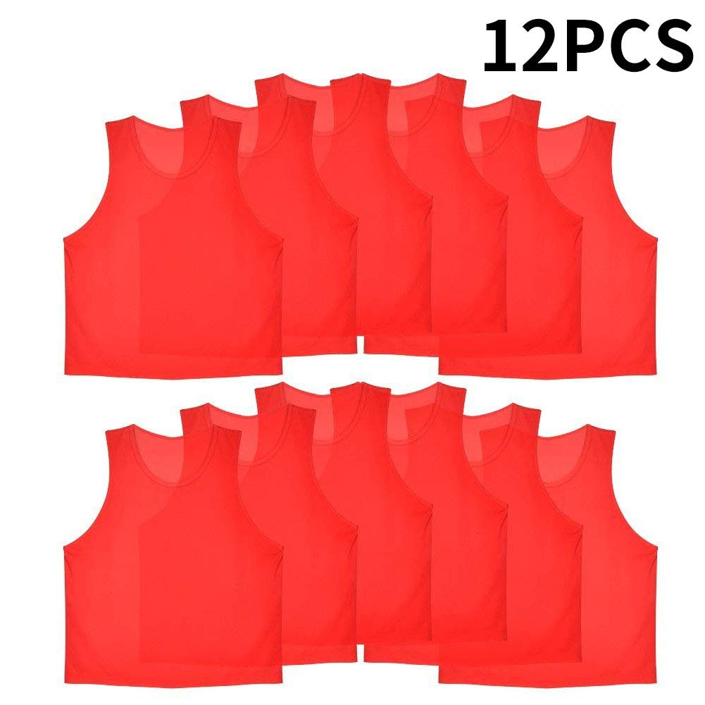 12Pcs Kids Jerseys Scrimmage Training Vests Football Vest Mesh Breathable Bibs for Volleyball Soccer Basketball VGEBY
