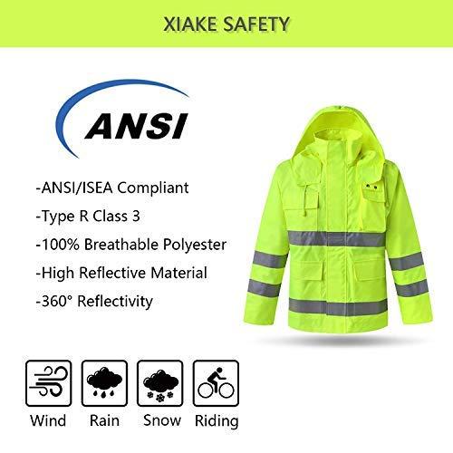 XIAKE SAFETY Class 3 Hi-Vis Reflective Rainwear Breathable Windproof Waterproof Antifouling, ANSI/ISEA Compliant,Yellow (3X-Large, YELLOW) by XIAKE (Image #5)