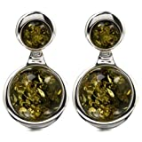 Green Amber Sterling Silver Round Earrings