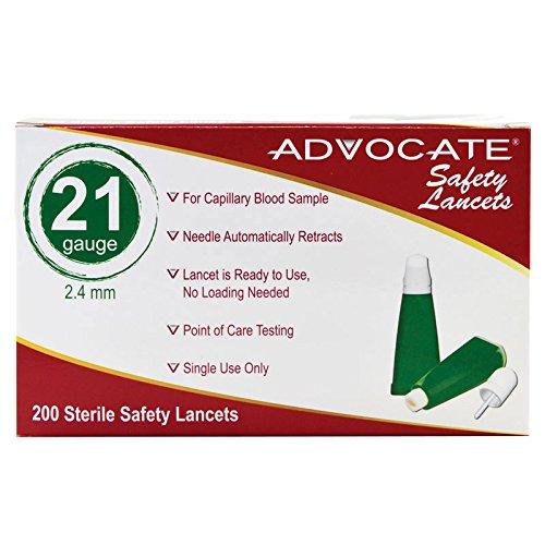 Advocate Safety Lancets 21G x 2.4mm 200/bx 20bx/cs, Case of 20