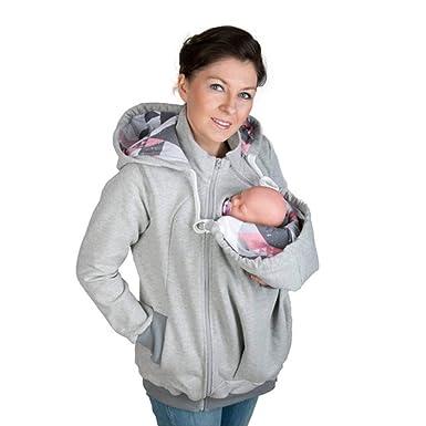87cc67974ce Gsaknc Maternity Hooded Sweatshirt Baby Carrier Kangaroo Coat Winter Women Hooded  Sweatshirt Baby Carrier Sweater at Amazon Women s Clothing store