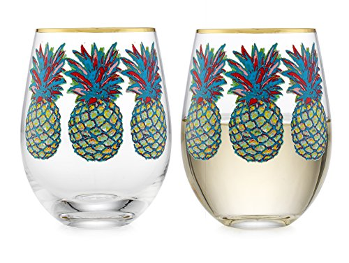 (Elegant Home Personalized Gift Set of Two 19 Oz. Stemless Wine Glass - unique Novelty - Gag Gift. (Pineapple))