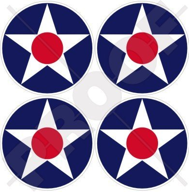US-Army-Air-Corps-USAAC-WWII-Aircraft-Roundel-USAF-USA-2-50mm-Vinyl-Stickers-Decals-x4