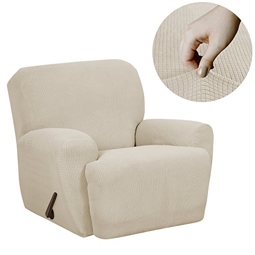 - MAYTEX Reeves Stretch 4-Piece Recliner Arm Chair Furniture Cover/Slipcover with Side Pocket, Natural