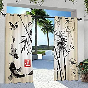 Adorise Print Curtains Bird and Fish Traditional Japanese Painting Bamboo Oriental Art Landscape Hand Drawn Ink Outdoor…