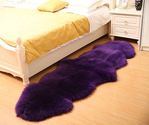 Longfeng Genuine Sheepskin Rug Purple Double Pelt Natural Fur - Sheepskin Rug Pad for Bedroom Living Room (Double/2ft x 6ft, Violet)