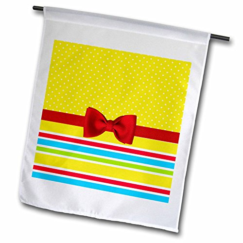 3dRose Anne Marie Baugh - Designs - Cute Yellow Polka Dots Over Primary Color Stripes With Digital Bow - 18 x 27 inch Garden Flag ()