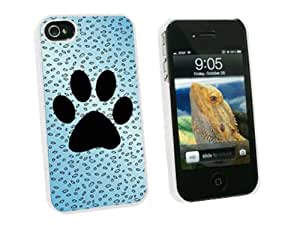 Graphics and More Paw Print of Awesomeness Blue - Snap On Hard Protective Case for Apple iPhone 4 4S - White - Carrying Case - Non-Retail Packaging - White