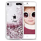 iPod Touch case 6th Generation, iPod Touch 6/5 Glitter Case for Girls,VEGO Bling Sparkle Liquid Moving Teen Case with Floating Shiny Quicksand Waterfall for Apple iPod Touch 6th 5th Generation(Rose)