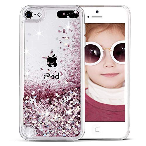 iPod Touch case 6th Generation, iPod Touch 6 5 Glitter Case for Girls,VEGO Bling Sparkle Liquid Moving Teen Case with Floating Shiny Quicksand Waterfall for iPod Touch 6th 5th Generation(Rose)