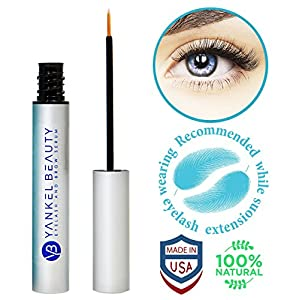 Eyelash Growth Serum - Eyelash Serum For Thicker, Stronger & Longer Lashes And Eyebrows - Enhancing Eyelash Conditioner By Yankel Beauty – All Natural Eyelash Treatment For Lashes & Brows