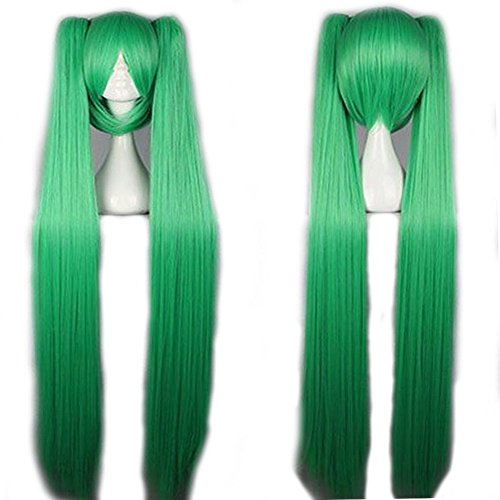 [Wig 100cm / 40 inch Cosplay Anime Vocaloid Hatsune Miku Wig 7 Colors + 2 Clip on Ponytails Removable Japanese Kanekalon Heat Resistant Fiber Long Straight Synthetic Full Wig with Bang, Light] (Glamour Costumes 2016)