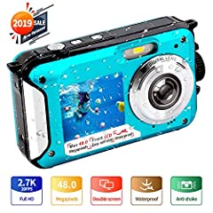YISENCE 10FT waterproof camera, born for the underwater world!Warm tips: ①Waterproof capability: Underwater 10 FT for one hour per time , and please take out battery to keep it dry while not using. ②Battery compartment door: Securely sealed,...