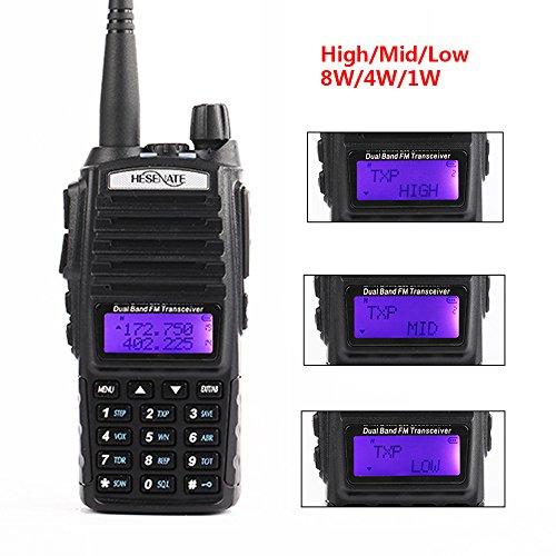 HESENATE HT-UV82X High Power 8-Watt Portable Radio Triple Power Output 8/4/1 Watt Dual Band 2M/70CM Amateur 2-way Radio Walkie Talkie (HAM)