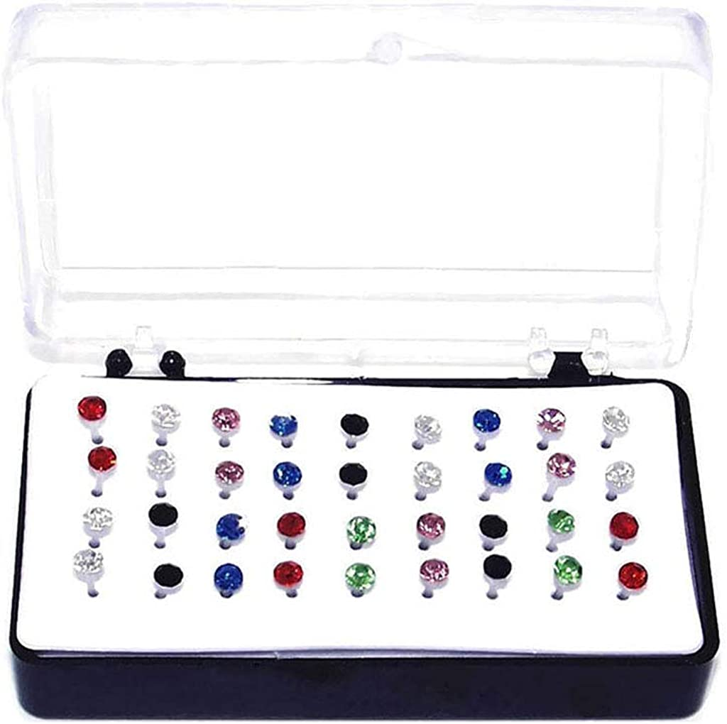 Set of Plastic Earrings with Nylon Plastic Posts Hypoallergenic Crystal Stud Earrings