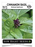 Sow Right Seeds - Cinnamon Basil Seed for Planting; Non-GMO Heirloom Seeds; Instructions to Plant and Grow a Kitchen Herb Garden, Indoors or Outdoor; Great Gardening Gift