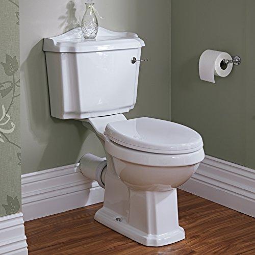 Hudson Reed - Sanitario WC Tradizionale a Pavimento per Bagno Completo con Vaso, Cassetta e Sedile (Ceramica Bianca, Scarico Orizzontale)