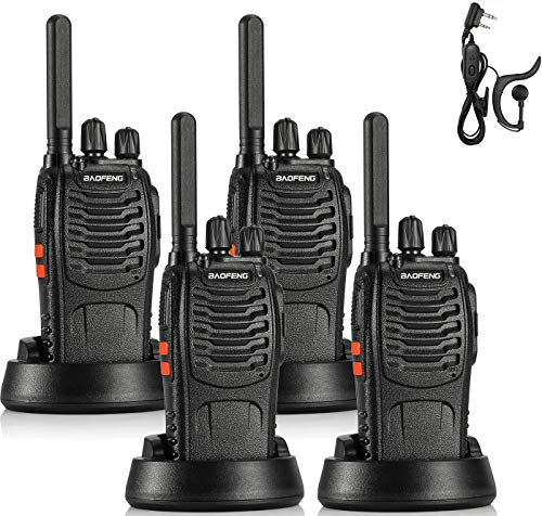BAOFENG BF-88ST FRS Radio Long Range Two Way Radio, Upgrade Version of BF-888S Walkie Talkie, License-Free 16CH VOX USB Charging LED Flashlight, with Earpiece, 4 Pack