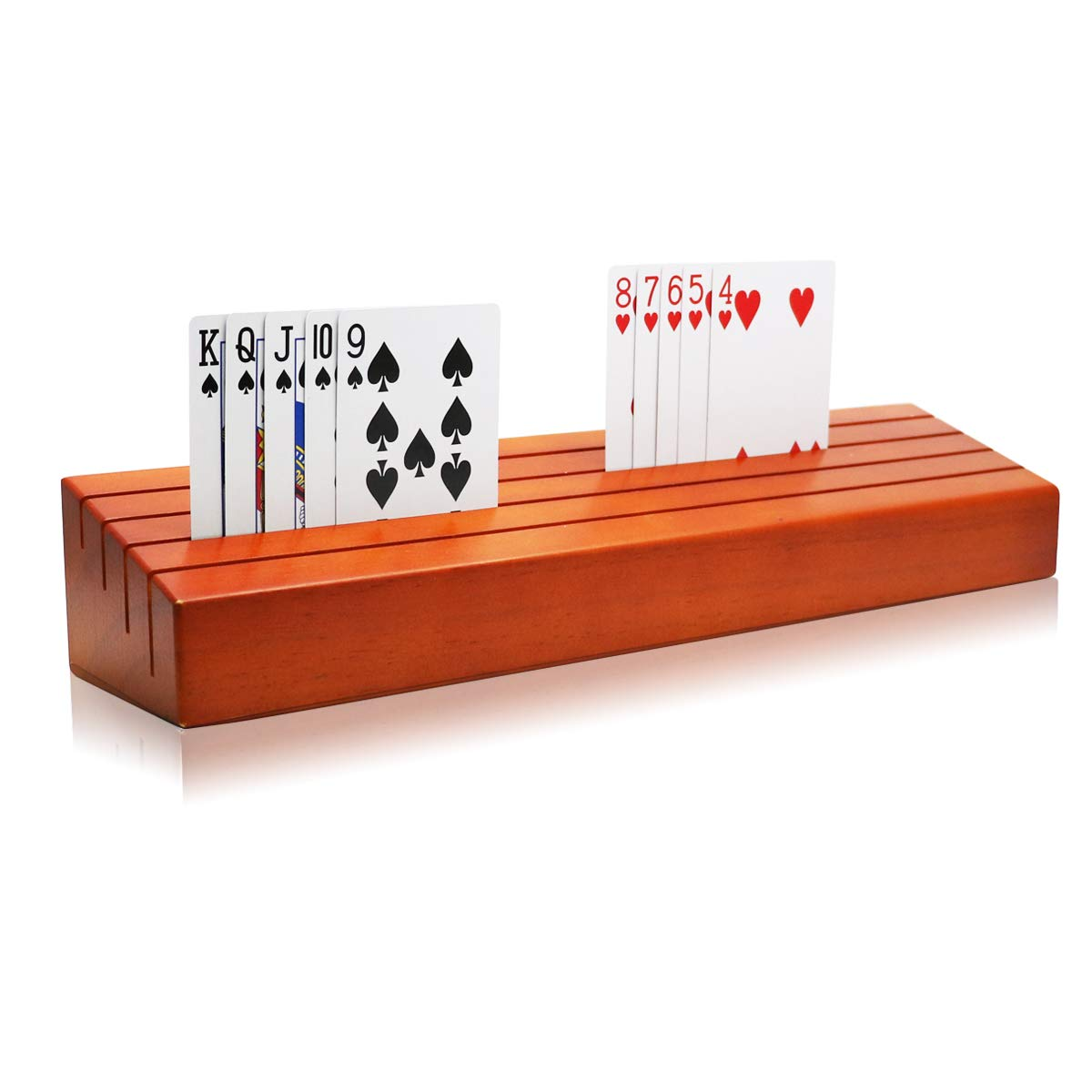 Exqline Wooden Playing Card Holder Tray Rack Organizer for Kids Seniors Adults - 13.8 inch 3.1 Inch Extended Versions Long Enough for Bridge Canasta Strategy Card Playing