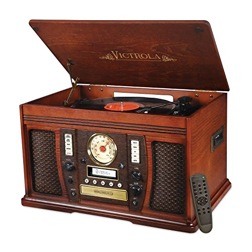 victrola nostalgic aviator wood 7in1 bluetooth turntable center mahogany