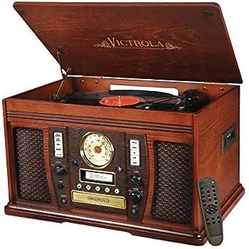 High Quality Victrola Nostalgic Aviator Wood 7 In 1 Bluetooth Turntable Entertainment  Center, Mahogany