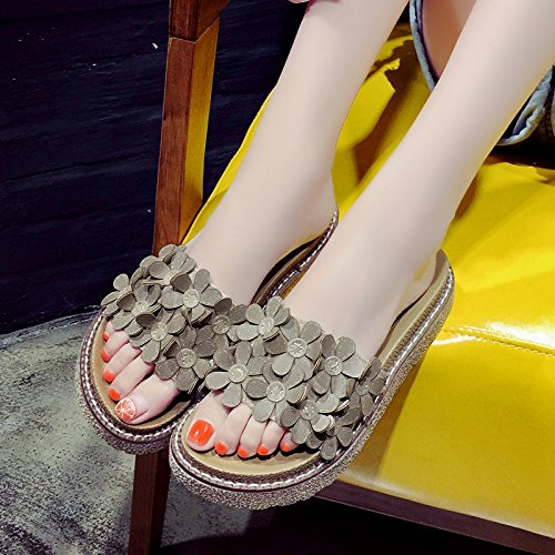 Flowers cool stylish slippers summer wearing 35 shoes students wild Yellow female girls and Light fankou dqUwCd