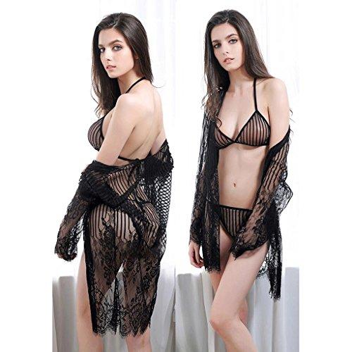 FLH Atractiva Underwea Tres Puntos Extrema Tentación Tulle Falda Transparente Cardigan Lace Pasión Traje erogeno ( Color : Negro ) Negro