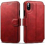 iPhone 6 Plus Case, iPhone 6s Leather Wallet Case [Card Slot] [Kickstand View] [Magnetic Closure] Folio Flip Slim Cover (iPhone 6 Plus/6S Plus (5.5'), Red)
