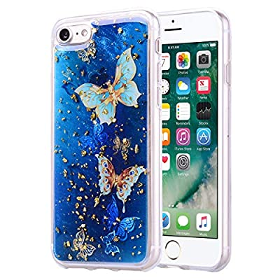 Girlyard iPhone 7 Plus Case with Screen Protector, iPhone 8 Plus Case Clear with Design Cute Animal Flowers Pattern Slim Shockproof Soft Flexible TPU Back Cover for iPhone 8/7 Plus-Blue Butterfly: Electronics