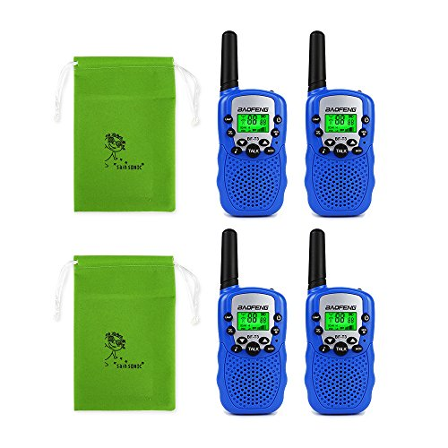 Baofeng T-3 Kids Walkie Talkie - Radio3 de Dos vías, 2 Pares Azul
