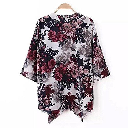 M TOOGOO l'encre pour imprime Kimono floral femmes Blazer Blouse les Cardigan a Manteau retro xxagO1wqF