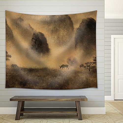 Yellow Fog and Chinese Mountain Fabric Wall Tapestry